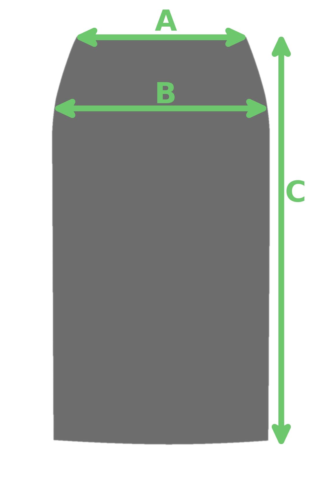 1ccec04b5043a C) długość całkowita - mierzona w linii prostej od górnej krawędzi spódnicy  do dołu spódnicy w linii prostej;